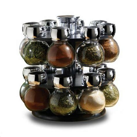 Spice Rack With Empty Jars by 16 Revolving Glass Spice Jar Rack Set Kitchen Home