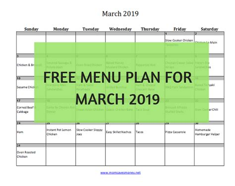 march 2019 monthly menu plan 31 delicious recipes printable calendar saves money
