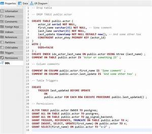 The table -> generate DDL method does not show/generate ...