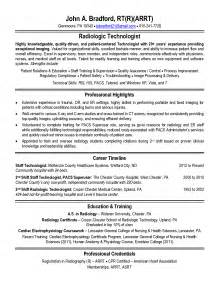 healthcare resume sle radiologic technologist