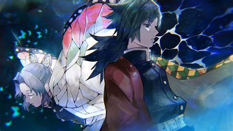 Demon Slayer Giyuu Tomioka Shinobu Kochou With Background