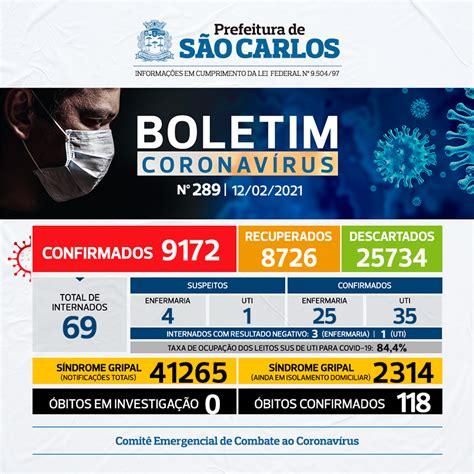 NÚMEROS COVID-19 SÃO CARLOS – 12/02/2021 – BOLETIM Nº 289 ...