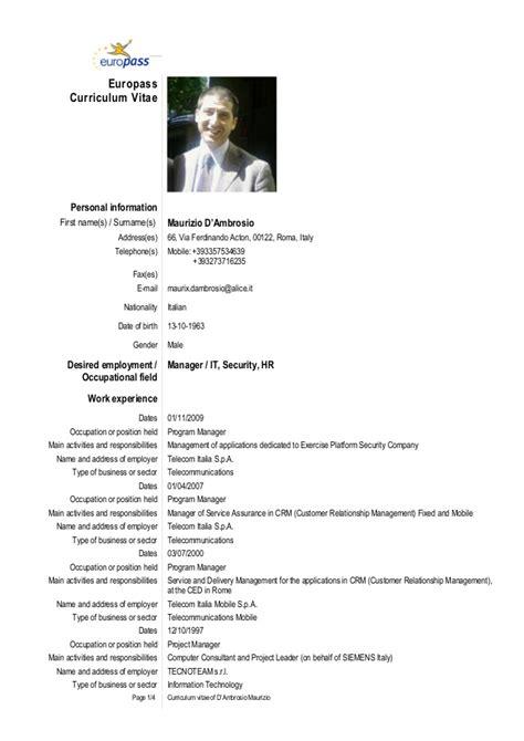 Curriculum Vitae European Format Doc by Cv Maurizio D Ambrosio Eu Eng