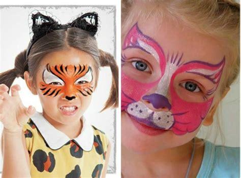 Katze Und Tiger Gesicht Schminke Für Halloween Kinder