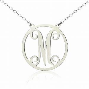 Wholesale silver single initial circle monogram necklace for Single letter initial necklace