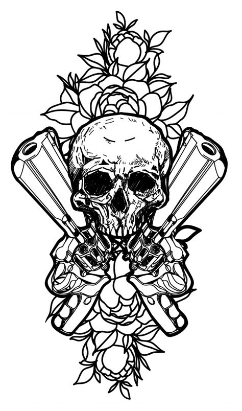 Tattoo art guns and skull hand drawing isolated Vector | Premium Download