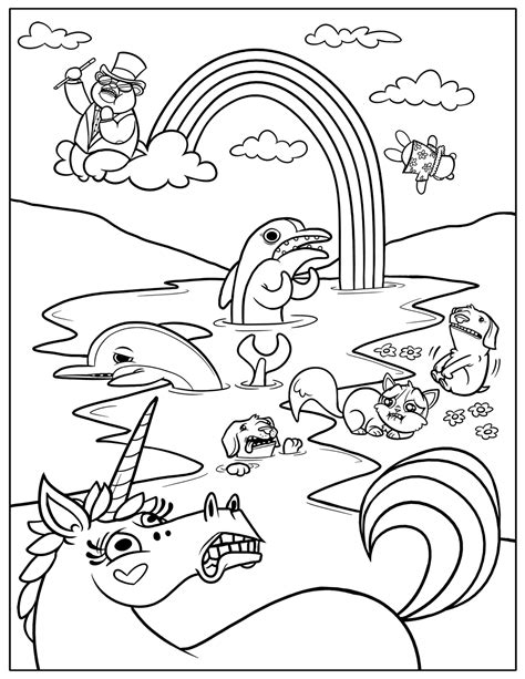 rainbow coloring page allys party