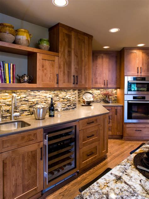 traditional wood kitchen cabinets  mosaic tile