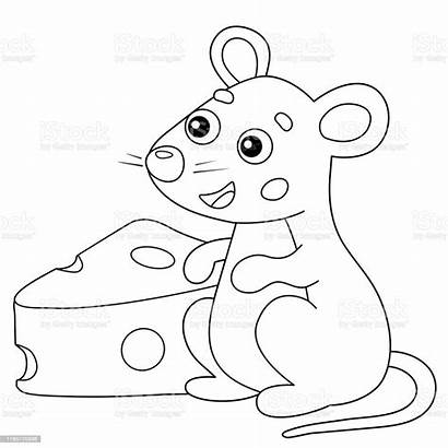 Coloring Mouse Cartoon Animals Cheese Outline Animal