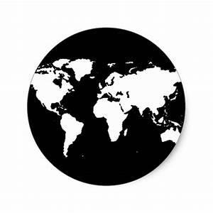 Planisphère Noir Et Blanc : world map black white classic round sticker zazzle ~ Melissatoandfro.com Idées de Décoration