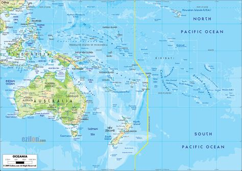 physical map  oceania ezilon maps