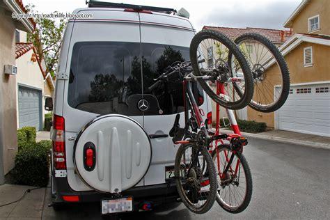 roadtrek modifications mods upgrades  gadgets diy hitch mounted vertical bike rack