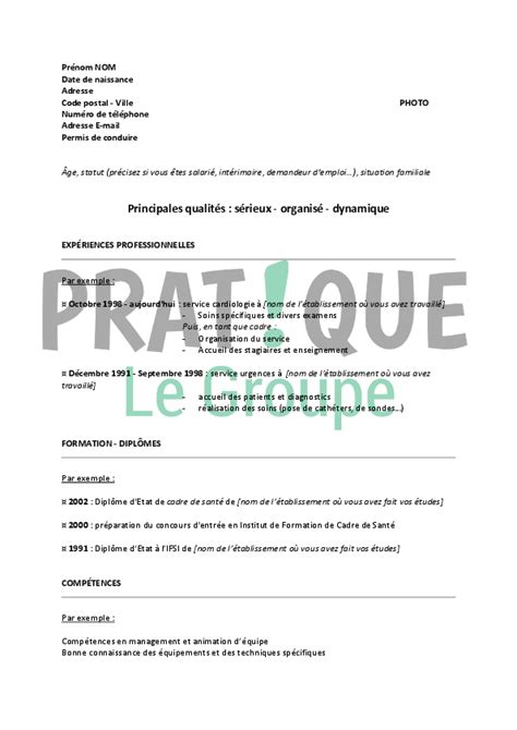 lettre deco cuisine modèle de cv pour un emploi de cadre infirmier confirmé pratique fr