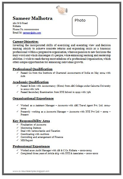 Resume Format Doc For Chartered Accountant Resume Format Doc For