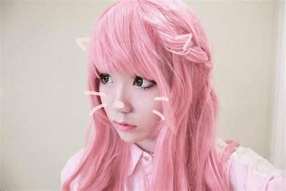 Pink Hair Kawaii Pastel Gifs Goth Cat