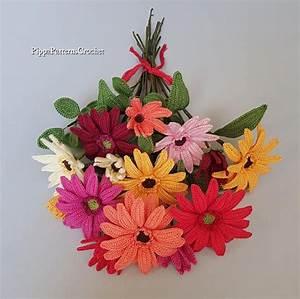 Crochet Gerbera Flower Pattern Plant Decoration Home