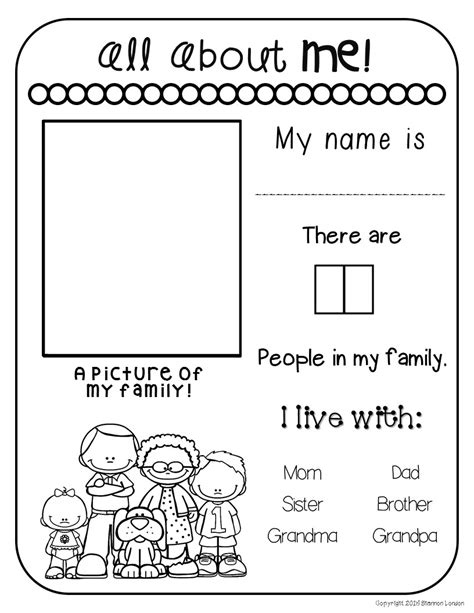 all about my family freebie the super teacher