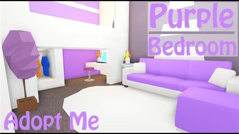 purple modern bedroom speed build adopt  roblox