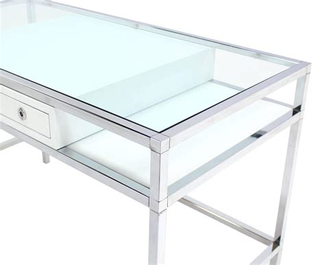 glass and chrome desk chrome and glass one drawer writing table desk at 1stdibs