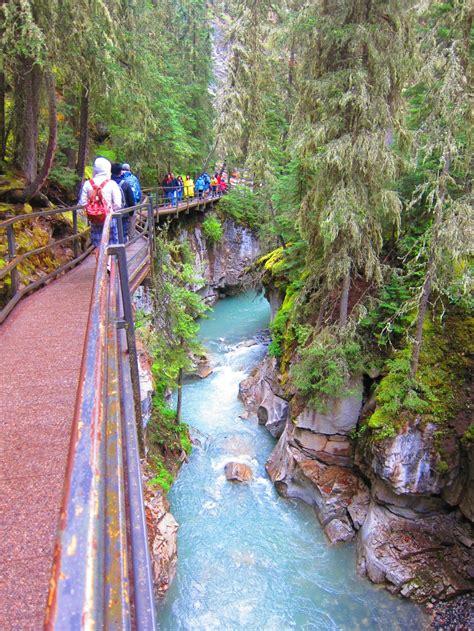 Alberta Hiking In Johnston Canyon At Banff National Park