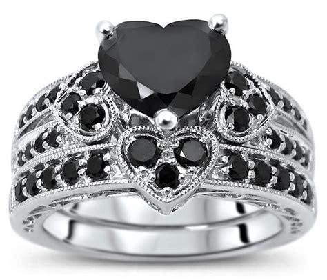 2 15ct black heart shape diamond engagement ring wedding 14k white gold front jewelers
