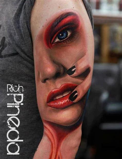 realistic lady face tattoo  arm  love  kinds