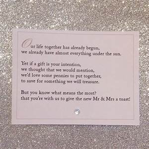 how to ask for cash instead of wedding gifts poem With wedding invitation poem inserts
