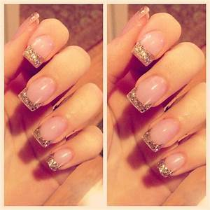Nails, Gold Glitter French tips | nail ideas | Pinterest ...