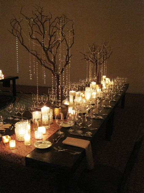 hanging centerpieces encore centerpieces white crystal vases rustic tree branches with hanging crystals encore