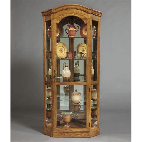 Pulaski Oak Corner Curio Cabinet by Pepper Oak Corner Curio Pulaski Furniture Furniturepick