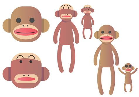 sock monkey vector set free vector stock graphics