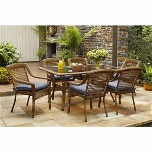 hampton bay spring haven brown 7 piece all weather wicker With spring haven furniture home depot