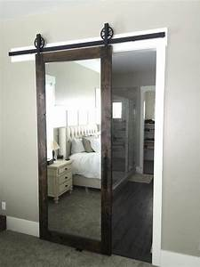 love this mirrored barn door for a master bedroom With barn door with mirror on one side