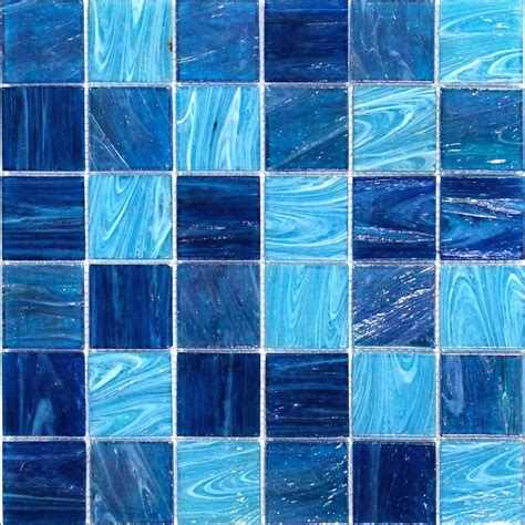 blue mosaic tile shop for aquatic blue 2x2 squares glass tile at