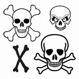 Skull Crossbones Printable Pirate Template Coloring Pages Printablee Ship Via Flags sketch template