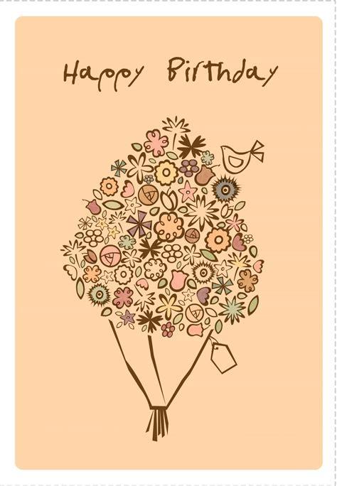 printable happy birthday bouquet greeting card