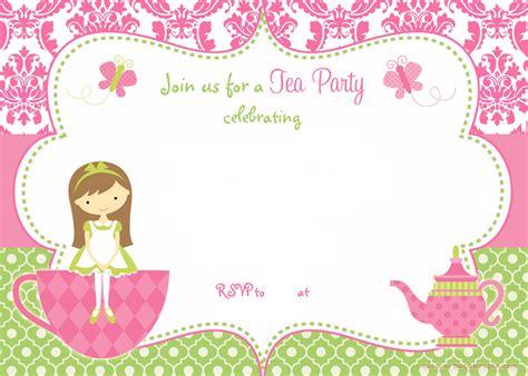 printable tea party invitation template  girl drevio