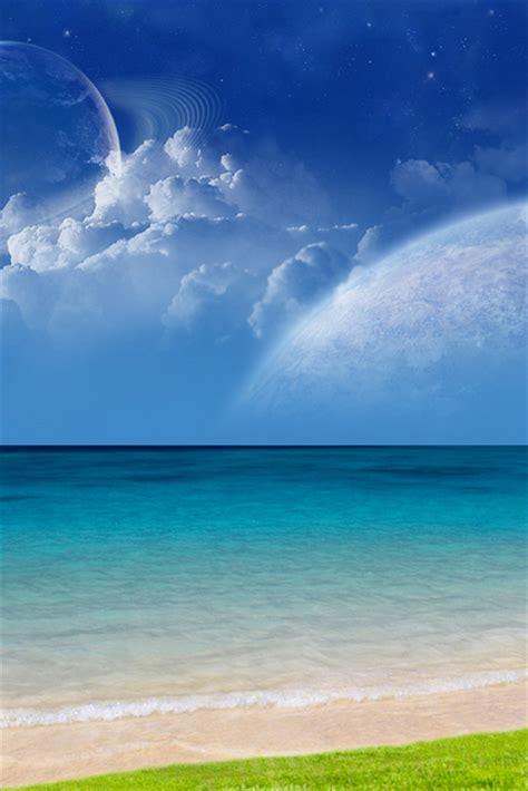 paesaggio fantasy mare luna natura sfondi  cellulare