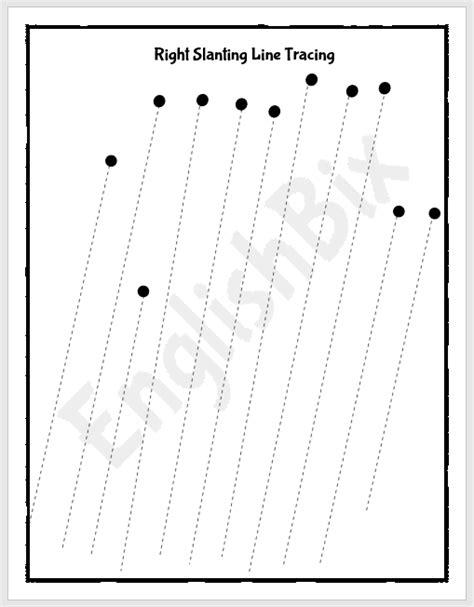 slanting  tracing worksheet englishbix