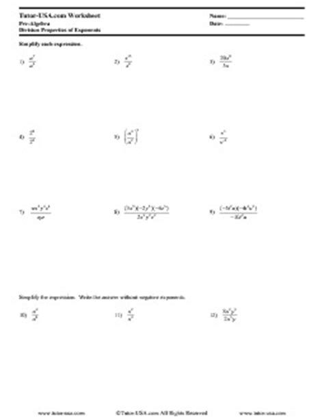 worksheet exponents division properties  exponents