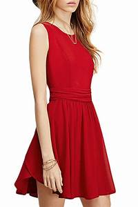 Dress: red, red dress, casual, casual dress, sleeveless ...