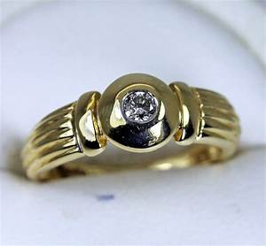 14K Yellow Gold Diamond Solitaire Ring Estate Jewelry | eBay