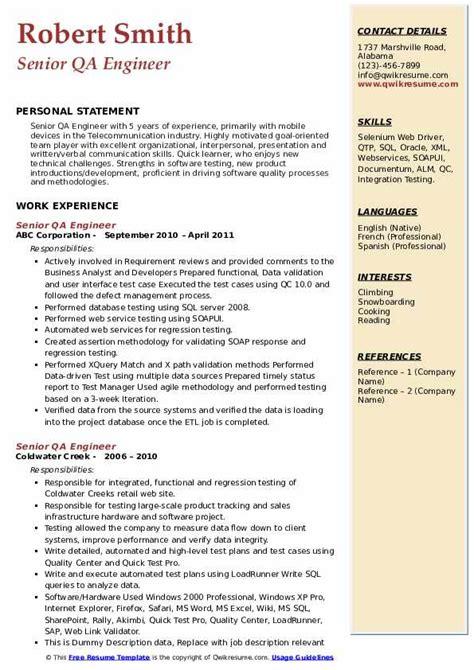 senior qa engineer resume samples qwikresume