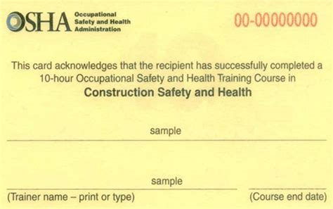 Osha 10 Card Template osha 10 should only be the beginning lhsfna