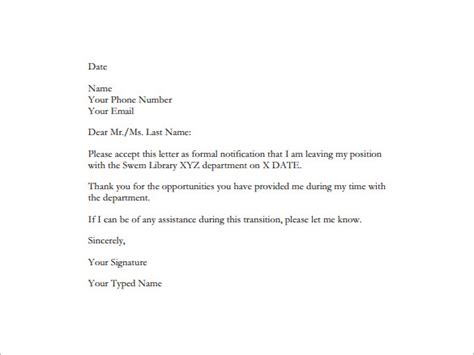 resignation letter templates  word excel