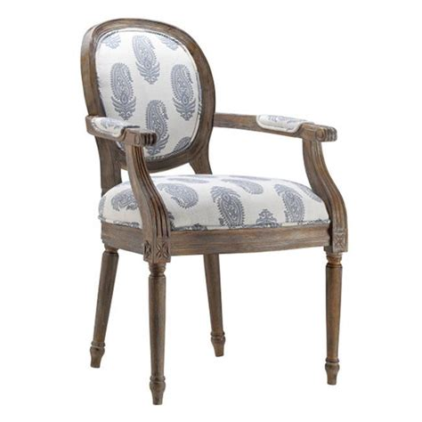 vireo new delhi royal fabric blue and white barrel back chair