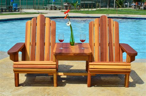 Adirondack Settee by Adirondack Chairs Joined By Thick Timbered Table