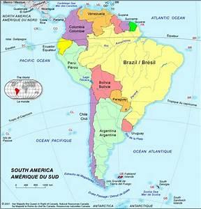 Amérique du sud : carte de l'Amérique du Sud, toutes kes