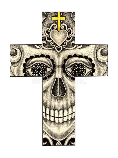 Art Skull Cross Day The Dead Stock Illustration