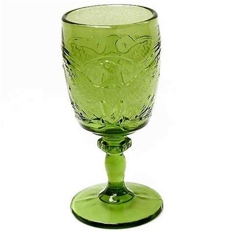 vintage green glass l eagle goblet l e smith vintage 1960s antique green